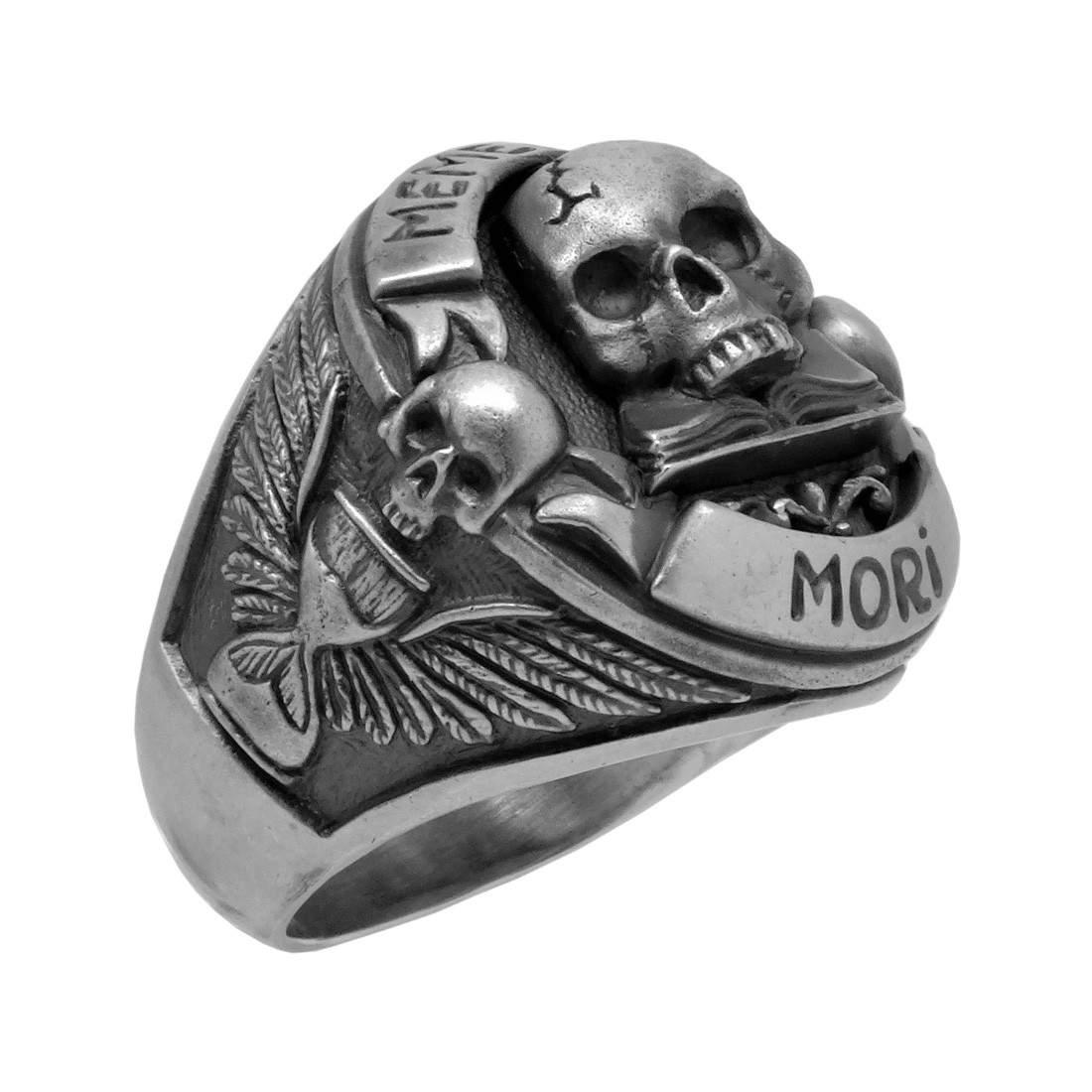 Handmade Sterling Silver 925 Skull Memento Mori Biker Ring  Secretium