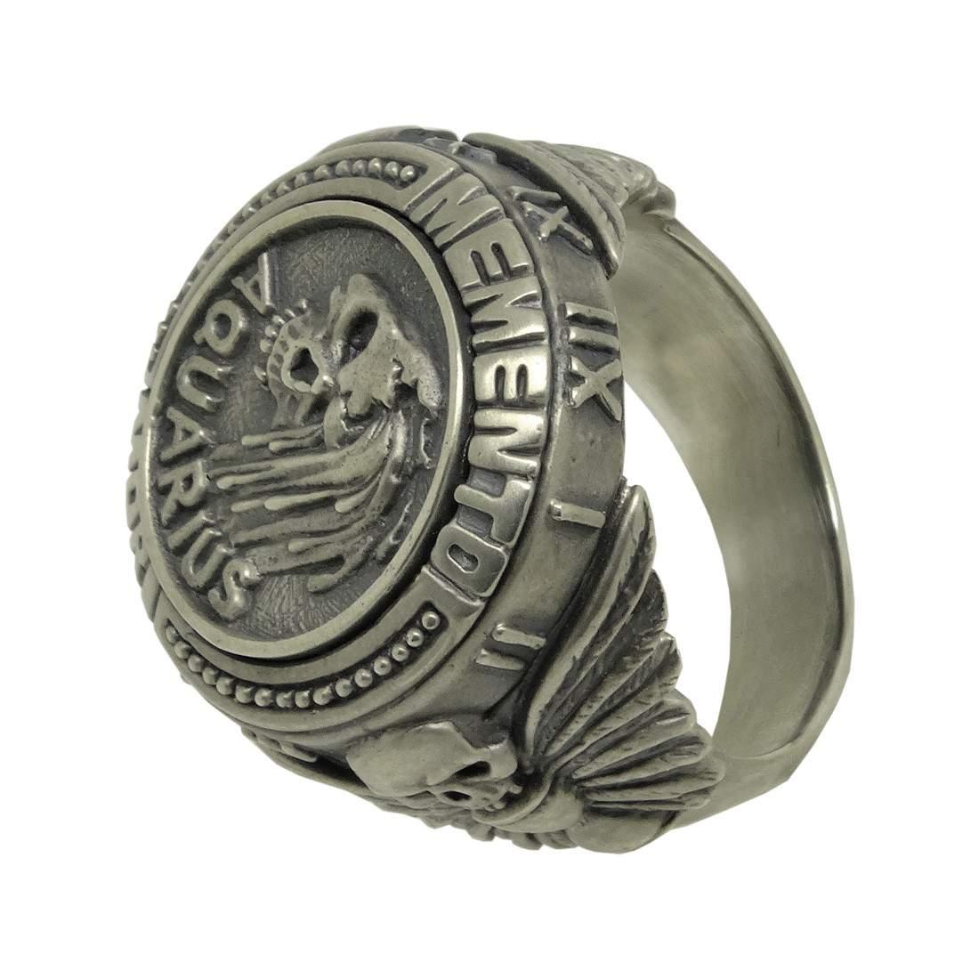 Pisces Skull Zodiac Biker mens Masonic Sterling silver Ring Memento Mori