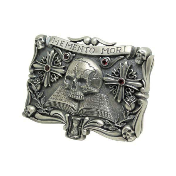 Skull Memento Mori Biker Sterling Silver 925 Mens Belt Buckle