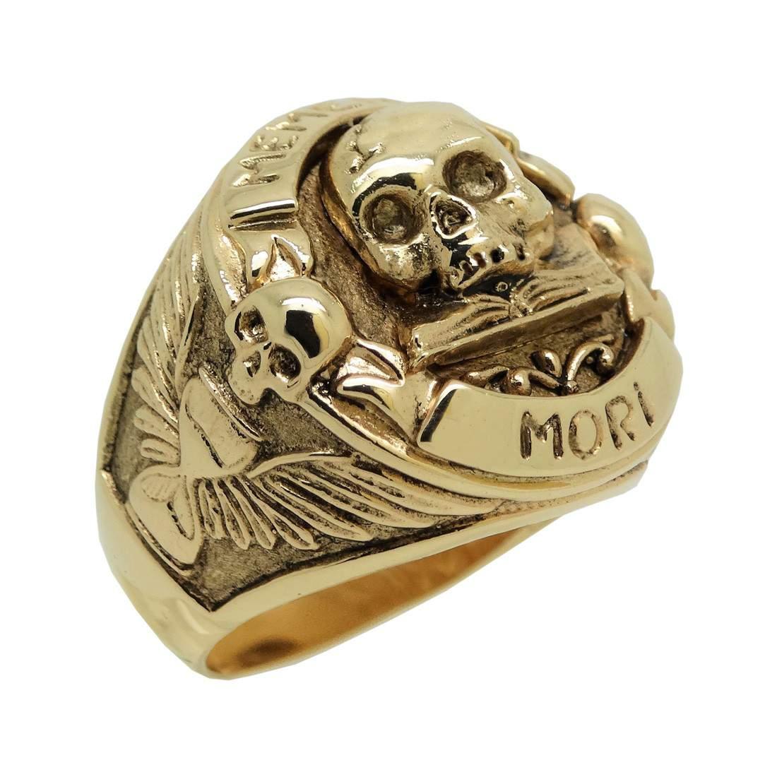 Yorick Memento Mori Skull Ring 14k Gold Plated
